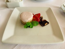 A dish of tasty dessert of Ruth's Chris.