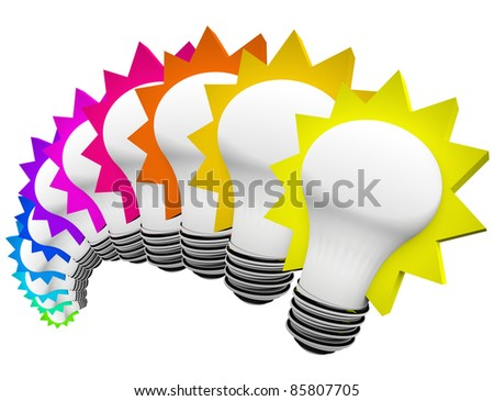 A display of colorful light bulbs in a rainbow of colors symbolizing creativity, innovation, and original thinking to solve a problem and overcome a problem