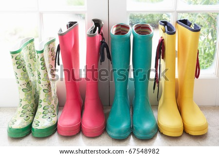 A display of colorful rain boots