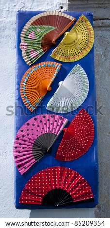 A display of fans outside a shop in southern Spain
