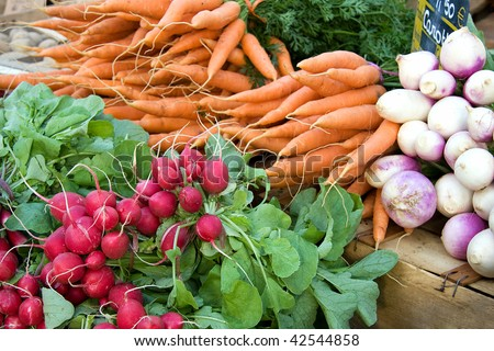 A display of fresh carrots, radishes and turnips for sale at a French market