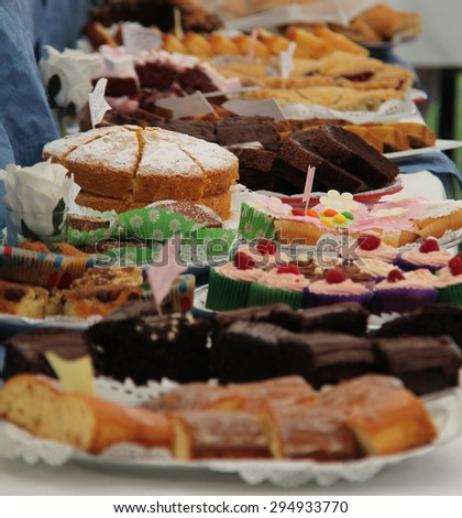 A Display of Fresh Homemade Cakes for Sale.