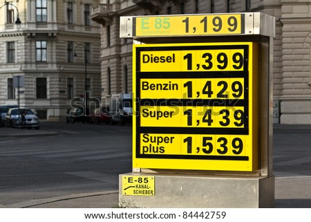 A display of gas prices in front of a central station in Vienna