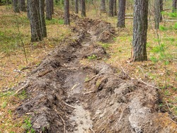 A ditch in the forest prevents the spread of fire in the forest during a fire. Care for the environment. Prevention of forest fires. Methods of protection against fire spread.