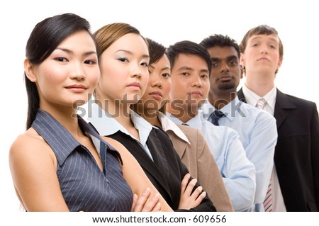A diverse and mixed group of business people looking confident
