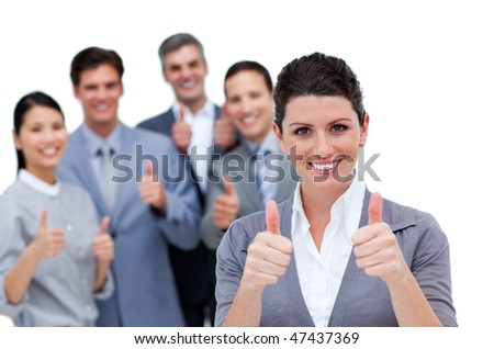 A diverse business team with thumbs up against a white background