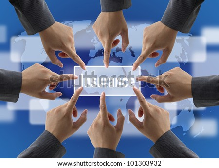 A diverse business teamwork do World Insurance for Risk Management Concept - stock photo