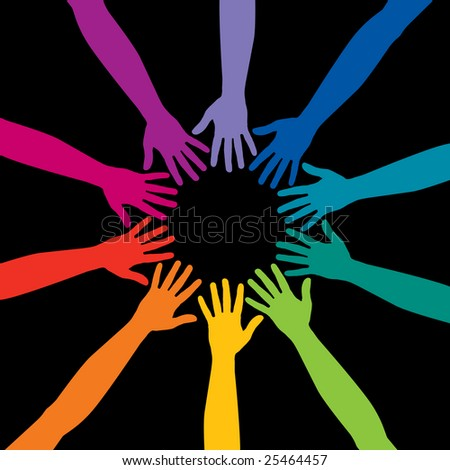 A diverse circle of hands background