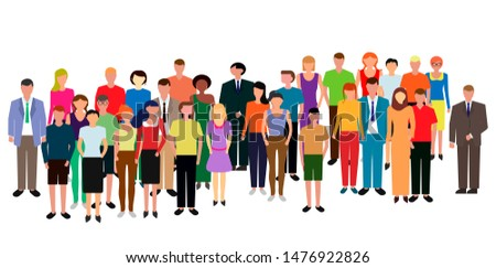 A diverse multiracial and multicultural group of people standing together, community and unity concept. Social diversity. Vector illustration.