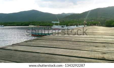 a dock with a little boat at background. Taken at karimun jawa, indonesia. #1343292287