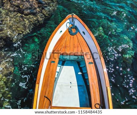 A docked boat in Capri, Italy.