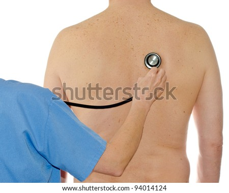 a doctor examining a patient by stethoscope