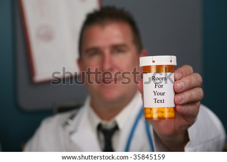 """a doctor hold bottles of pills with white labels, with """"room for your text"""""""