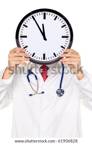 A doctor in trouble with Clock in front of the head. Working in Kranklenhaus.