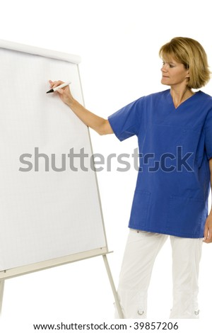 A doctor on the flip-chart