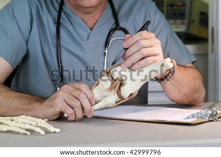 A doctor or intern studying a skeletal model of the human knee.