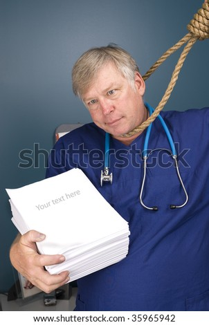 A doctor peers through a noose as he fights the bureaucracy of red tape and paperwork, rules, regulations and reform.  Paper left blank to allow for copy. - stock photo