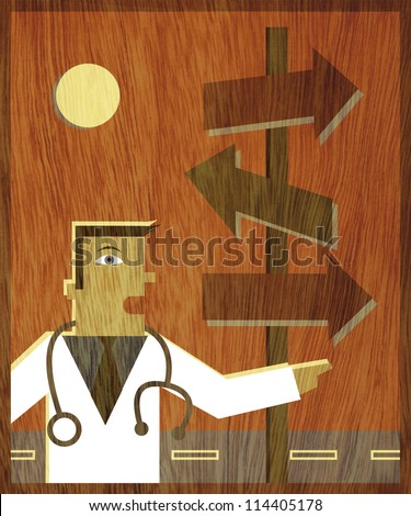 A doctor pointing in one direction next to road signs pointing in every direction