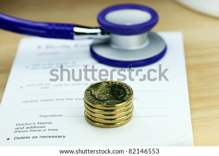 A doctor's desk showing a purple colored stethoscope, stack of gold coins resting on a sick certificate pad, suggesting the price of keeping healthy is rising.