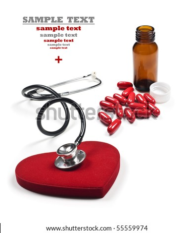 a Doctor's stethoscope listening to a healthy red heart with red pills and pill bottle on a white background with space for text