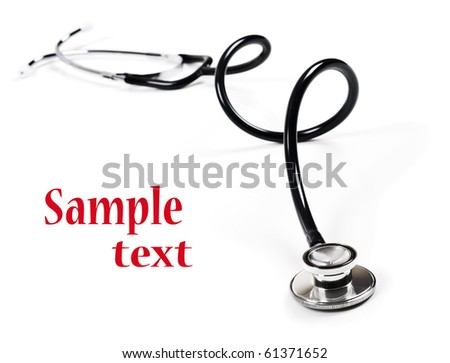 a Doctor's stethoscope on  a white background with space fot text