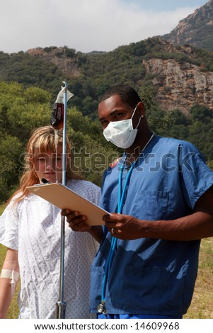 a doctor takes his patient outside for some fresh air, representing medical concepts and healthy alternates to the hospital enviroment