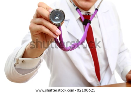A doctor with a stethoscope, close-up, isolated on white