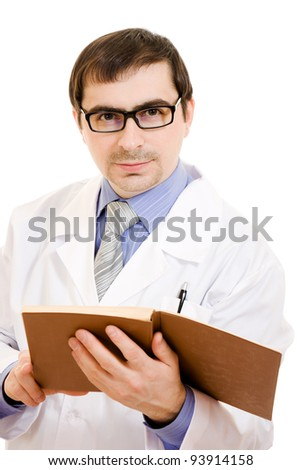 A doctor with a stethoscope is reading a book on a white background.