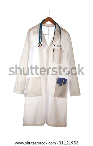 "a doctors smock and stethoscope,  ""isolated on white"""