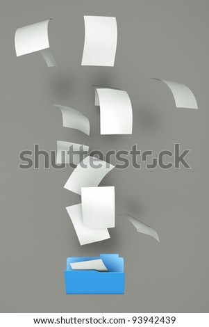 a documents falling in a empty open folder