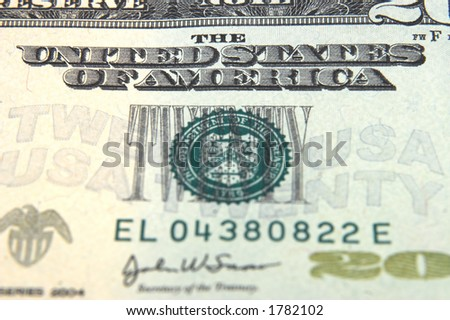 a 20 dollar bill showing the united states of america stamp
