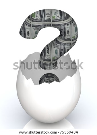 A dollar question mark sign hatching from a brown egg.