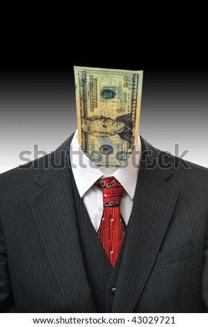 A dollar sticking out of a business suit. Abstract surreal concept.