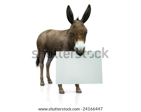 A donkey holding a blank sign in his mouth.