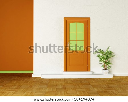 a door and the plant in the room
