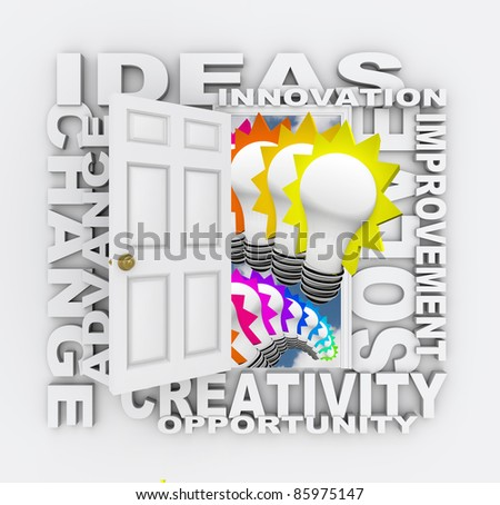 A door opening to show light bulbs and surrounded by the words Ideas, Innovation, Improvement, Solve, Creation, Opportunity, Advance and Change