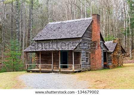 A double cabin owned by Henry Whitehead along Forge Creek in Cades Cove, Great Smoky Mountains National Park, Tennessee, USA