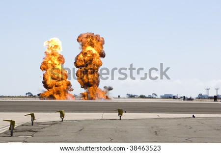 a double explosion at a military demonstration during an airshow