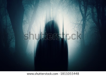 A double exposure of a Silhouette of a mysterious hooded figure without a face. Standing in a forest at night. With a glitch edit                    Foto stock ©