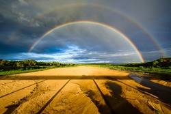 A double rainbow over the Letaba river in Kruger NP in South Africa.