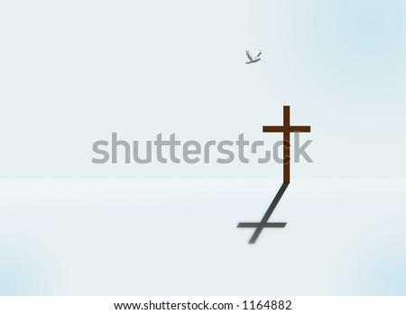 A dove flys toward a cross in a stark landscape