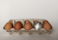 A dozen chicken eggs in a container. 9 brown chicken eggs, one silver egg for Easter. Eggs on a white background. Open container with chicken eggs.