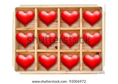 A dozen of red hearts in wooden box>