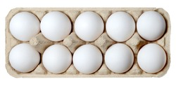 A dozen white chicken eggs in a carton. White isolated background.