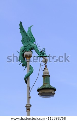A dragon-like lamp at the harbor of Copenhagen