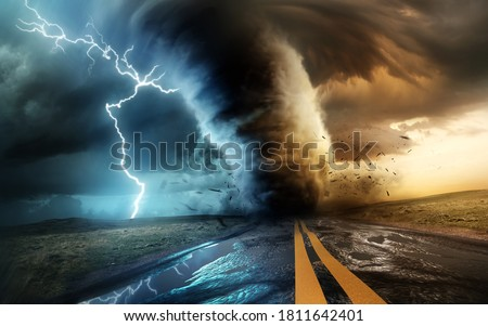 A dramatic and powerful tornado and supercell thunder storm passing through some isolated countryside at sunset. Mixed media landscape weather 3d illustration. Foto stock ©