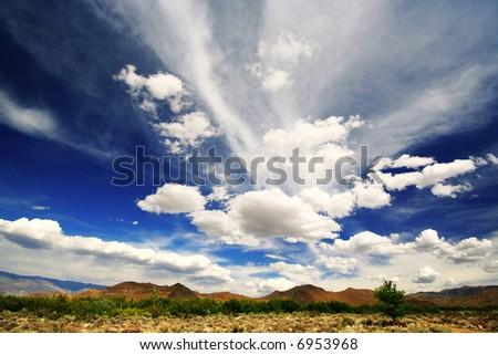 A dramatic blue sky in the California desert.