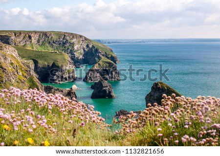 A dramatic Cornish scenery of the Bedruthan steps during the high tide and with sea thrift in bloom. Carnewas. North Atlantic coast of Cornwall. South West England,