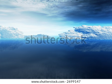 A dramatic landscape with icebergs floating in the open ocean