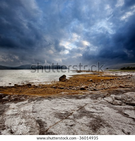 A dramatic ocean coast landscape in Northern Norway - stock photo